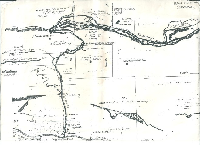 Map of Bulli Mountain showing land ownership from 1850's including Charlesworth lots.