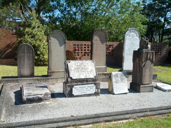 Gravestones of Sherbrooke residents including Cecil Knight-Cavill at St Augustine's Bulli