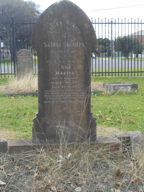 Grave of Samuel Smithers and wife Martha  Halliday